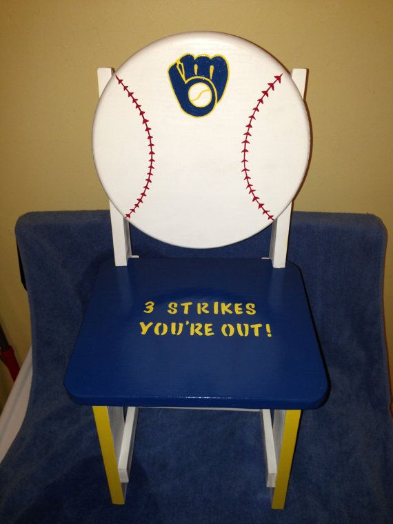 Milwaukee brewers wood time out chair by KiddOooosKreations, $85.00