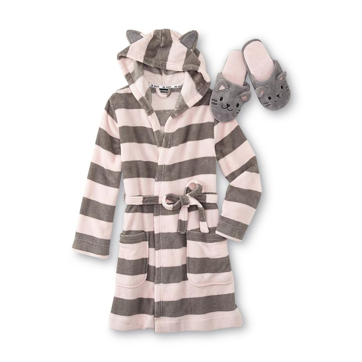Plenty of cozy with a touch of cuddly describes this women's bathrobe and slippers duo from Joe Boxer. After stepping out of the shower or out of bed on a chilly morning, wrap up in the warmth of the fleece bathrobe with an attached hood, self-tie belt and two generous pockets. When the hood is pulled on, cute cat ears are revealed. Pair your knee-length striped robe with the cushioned scuff slippers decorated with cute kitten faces.