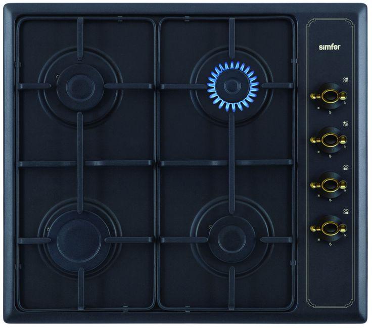 SIMFER PLINSKA PLOŠČA 6400 QGRSA. Rustic kuhalna plošča, ki se super poda k rustic pečici Simfer 6006 YERSA.  Kuhališče: 4 plinski gorilniki, elektronski vžig, emajlirano črno, podstavno rešeto, termostatsko varovalo gorilnikov,  prirejeno za zemeljski plin in za plin v jeklenkah, črna rustikalna barva, širina 60 cm.