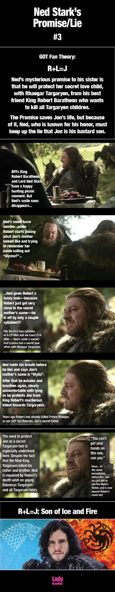 Jon is the son of ice and fire! The revelation of Ned's Promise/Lie is based on GOT Fan Theory: R+L=JNed's mysterious promise to his sister is that he will protect her secret love child, with Rhaegar Targaryen, from his best friend King Robert Baratheon who wants to kill all Targaryen children.The Promise saves Jon's life, but because of it, Ned, who is known for his honor, must keep up the lie that Jon is his bastard son. #R+L=J #GOT #ASOIAF #jonsnow #nedstark #lyannastark #sonoficeandfire