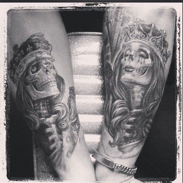 70 best tattoos images on pinterest skull tattoos for King and queen skull tattoos