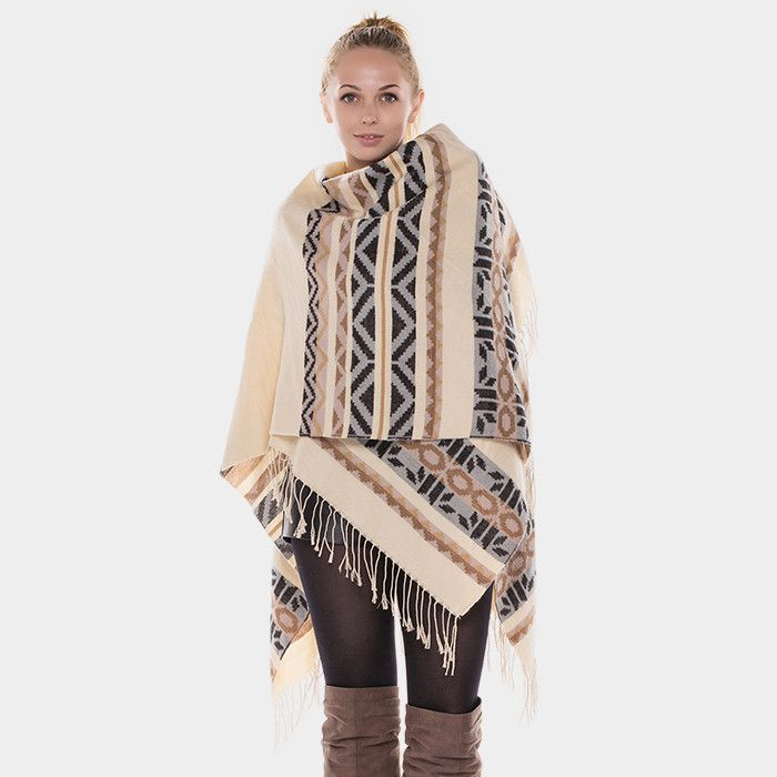 {Aztec Pattern Wrap Winter Poncho}