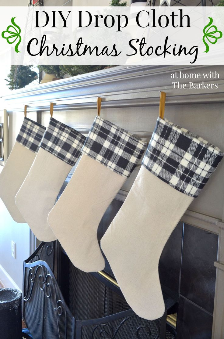 DIY Drop Cloth Christmas Stocking using drop cloth and plaid fabric for a vintage stocking.