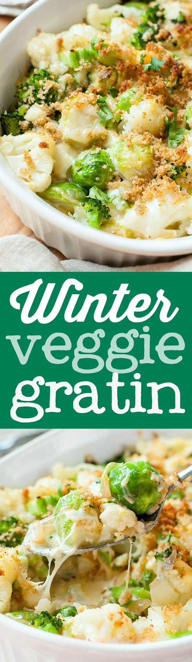 This lusciously epic Winter Veggie Gratin isn't your average casserole! Tender broccoli, cauliflower, and brussels sprouts are blanketed with a creamy béchamel sauce with vanilla-infused caramelized onions, Gouda, and Gruyere cheeses, then topped with golden breadcrumbs for a side dish that's destined to impress!