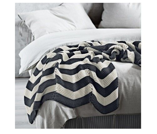 Chevron Throw in Charcoal by AURA, available at Forty Winks.