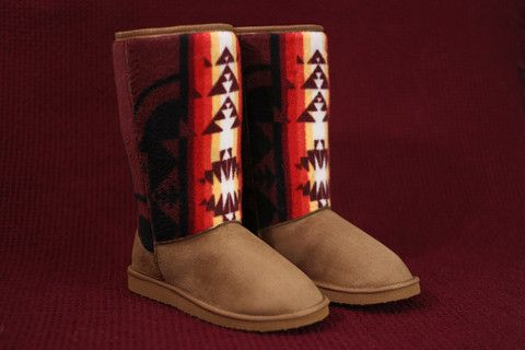 Ladies Size 10 Camel Fashion Boots w/ Maroon Native American Print – Charm's Native Boots #First_Nations #indigenous #aboriginal #Navajo #lumbee #ojibwe #anishinaabe #cherokee #powwow #pow_wow