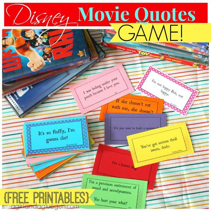 Disney movie quote game - Free printable cards