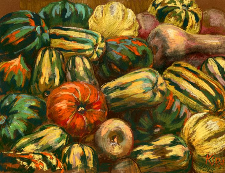 Lots of Pumpkins. Original pastel painting in impressionistic style. by culufin on Etsy