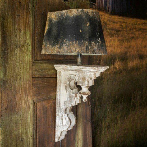 Rustic Corbel Sconce Metal Shade Sconces Wooden Corbels Corbels