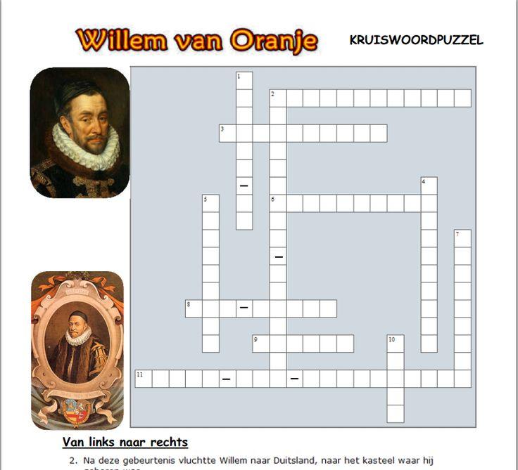 Willem van Oranje Kruiswoordpuzzel