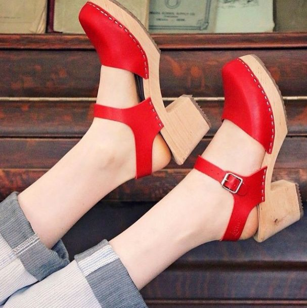 High wood red clogs, photo by Kenna and Lulu!