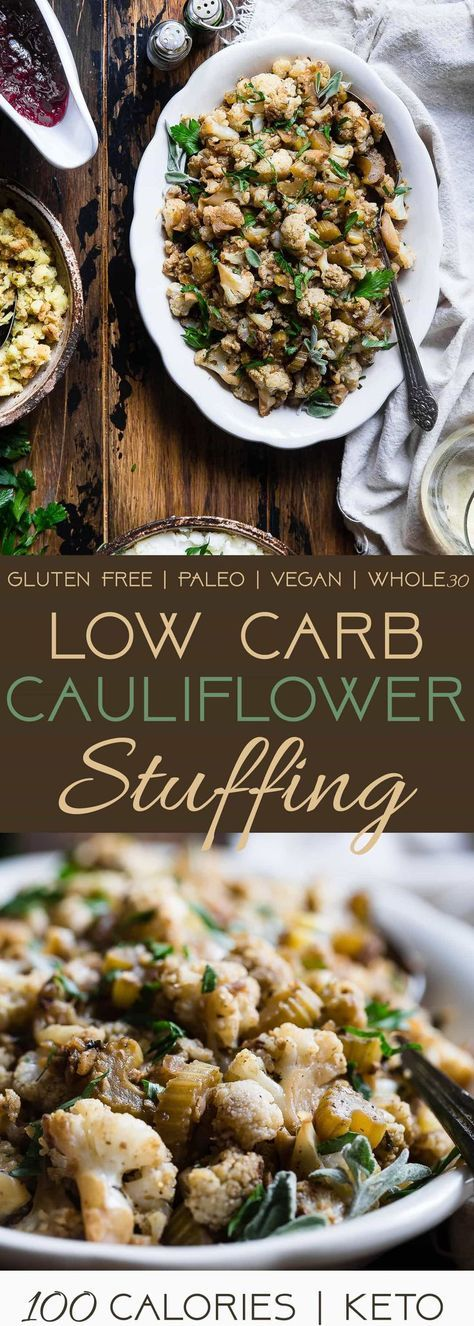 Low Carb Cauliflower Stuffing - Made entirely from vegetables but has all the flavor of traditional bread stuffing! It's super easy, whole30 compliant, paleo, vegan, gluten free and SO delicious! Perfect for Thanksgiving or Christmas!   Foodfaithfitness.com   @FoodFaithFit   low carb stuffing for turkey. Keto stuffing. Paleo stuffing. Low carb thanksgiving recipes. Low carb side dishes. low carb stuffing with cauliflower. grain free stuffing. gluten free stuffing. Healthy thanksgiving…