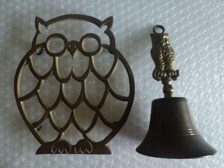 oWL BELL TRIVET HOT PLATE VINTAGE BRASS STRIGIFORME NOCTURNAL BIRD PREY neocurio #ebay #neocurio #owl #owlsareeverywhere #brass #trivit #bell