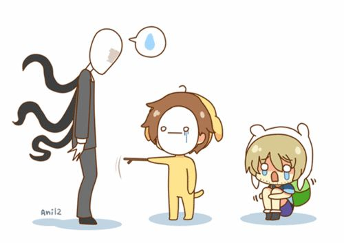 This is the third time I'm trying to pin this and I've just noticed that it's adventure time + cry and pewdiepie + slender man + chibi = this photo, it's so adorable to ;-;+:3