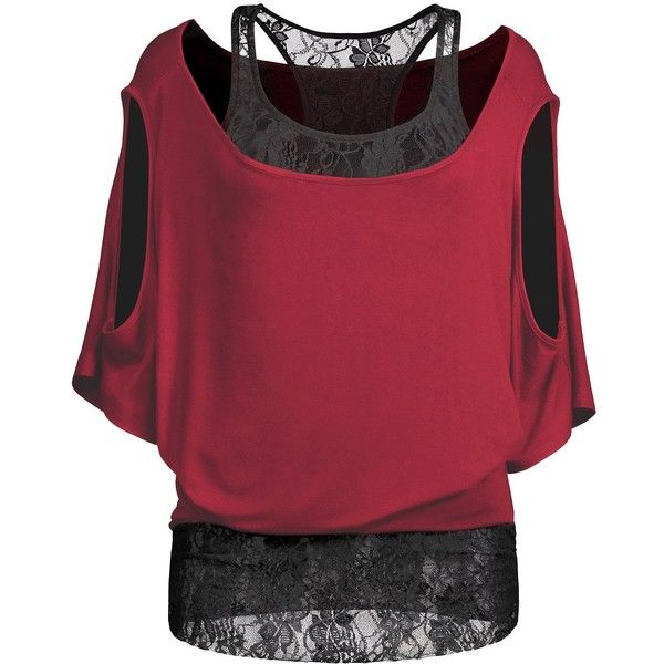 Cold Shoulder Batwing Lace Blouse (£11) ❤ liked on Polyvore featuring tops, blouses, open shoulder tee, red t shirt, open shoulder top, red tee and batwing t shirt