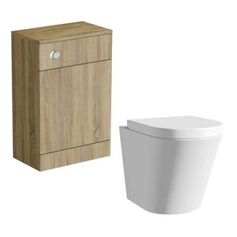 Arte back to wall toilet with seat and Sienna oak slimline unit