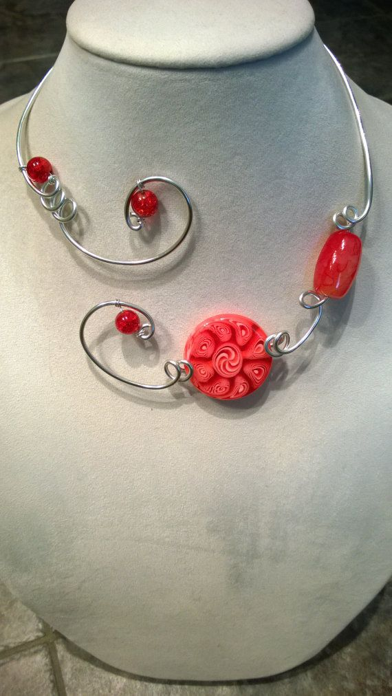 Red jewelry red necklace aluminium wire by LesBijouxLibellule