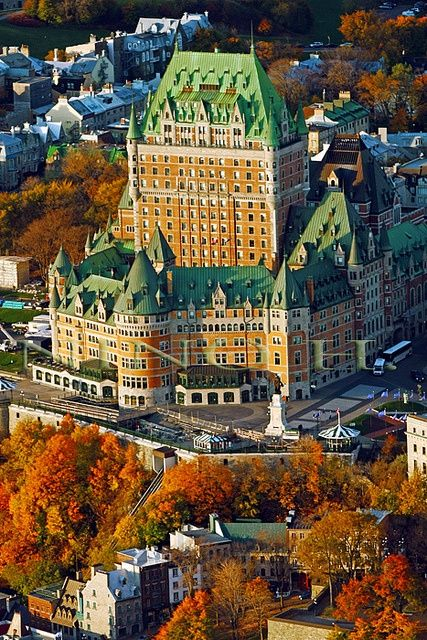 "Château Frontenac, Quebec City, Quebec, Canada - one of a series of ""château"" style hotels built for the Canadian Pacific Railway company  during the late 19th and early 20th centuries. #travel"