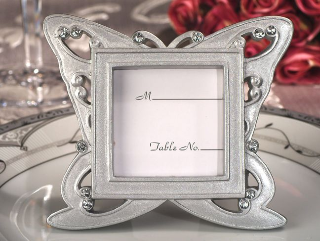 coming of a special occasion than with a picture frame thatll serve as a brilliant keepsake our stylish butterfly design silver place card frame favors