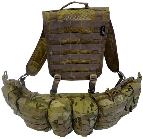The Long Range Patrol belt in All Terrain pattern (ATP) has internal moulded comfort neoprene padding that adds extreme comfort when wearing for long periods at a time. The belt is 3 molle loops wide for maximum load carriage enhancement for pouches. Camouflage is unique design that can be worn with Multicam or MTP camouflage. Belt includes pouches and Jungle harness as shown on Photos.