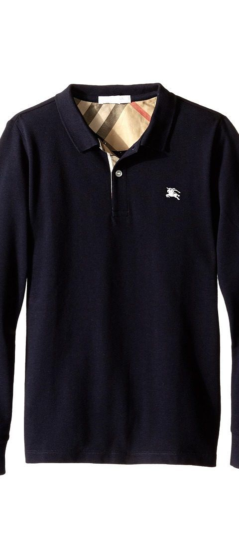 Burberry Kids Mini Pique Polo Shirt (Little Kids/Big Kids) (True Navy) Boy's Long Sleeve Pullover - Burberry Kids, Mini Pique Polo Shirt (Little Kids/Big Kids), 3946104-411, Apparel Top Long Sleeve Pullover, Long Sleeve Pullover, Top, Apparel, Clothes Clothing, Gift, - Street Fashion And Style Ideas