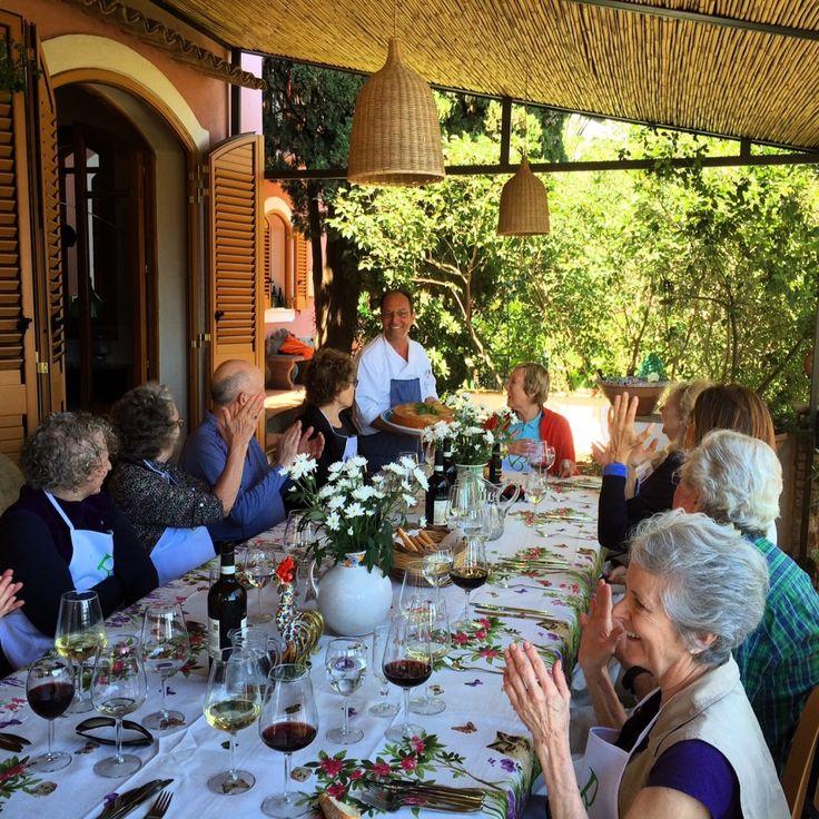 Villa Britannia sicilian cooking class , in Taormina centre . Sicilian Timballo is ready , chef on the terrace of Villa Britannia Taormina