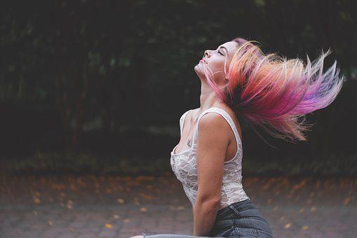 Красивая, Красочные, Красочный, волосы, прическа, радужная прическа, девушка, образ, стиль