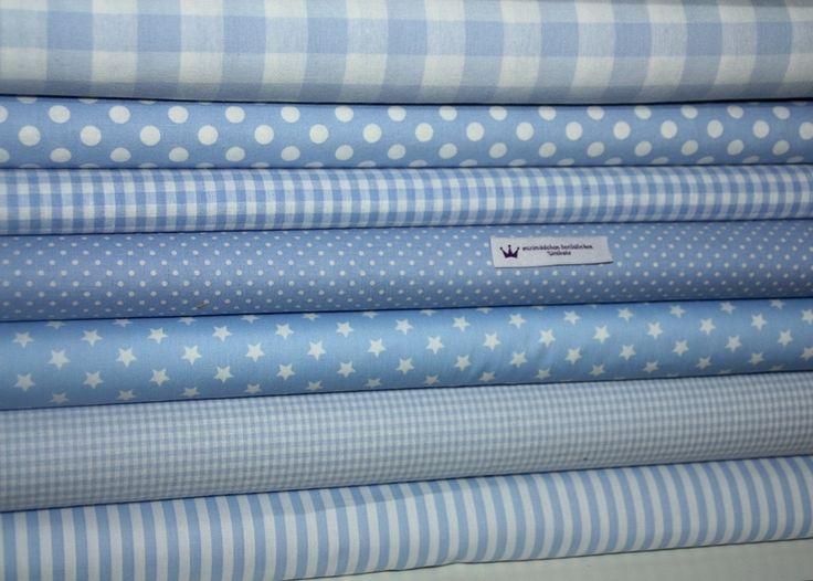 Stoffpakete - Stoffpaket (71) hellblau Punkte, Karo, Streifen - ein Designerstück von stoff-maedel bei DaWanda