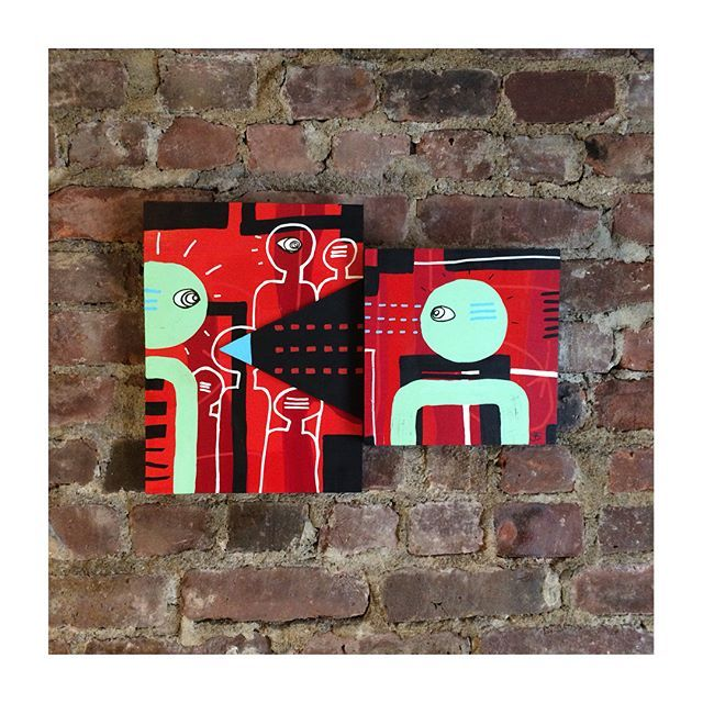 """Introvert"" #red #woodpanel #woodpainting #acrylic #painting #art #abstractart #figurativeart #coloraddict #nycart #danishart #nyc #DK #signerudolfsen #acryliconwood"