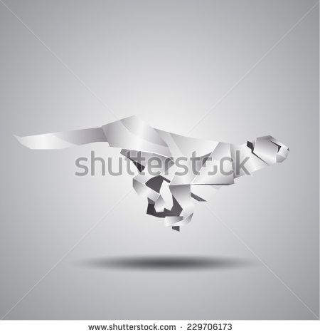 vector origami silver jaguar - stock vector