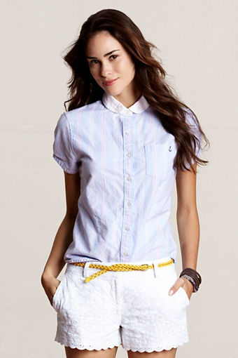 Bought this bad boy! -  Women's Short Sleeve Patterned AnchBor Oxford Shirt from Lands' End Canvas