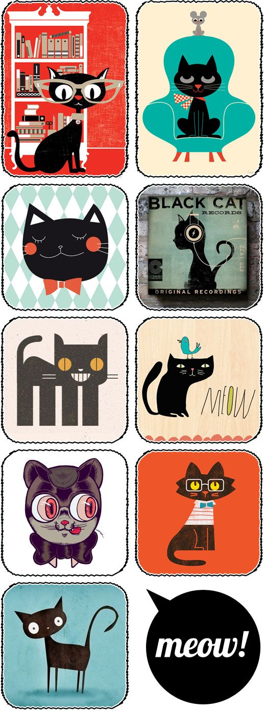 Black Cat Art, Illustration, Posters, Prints