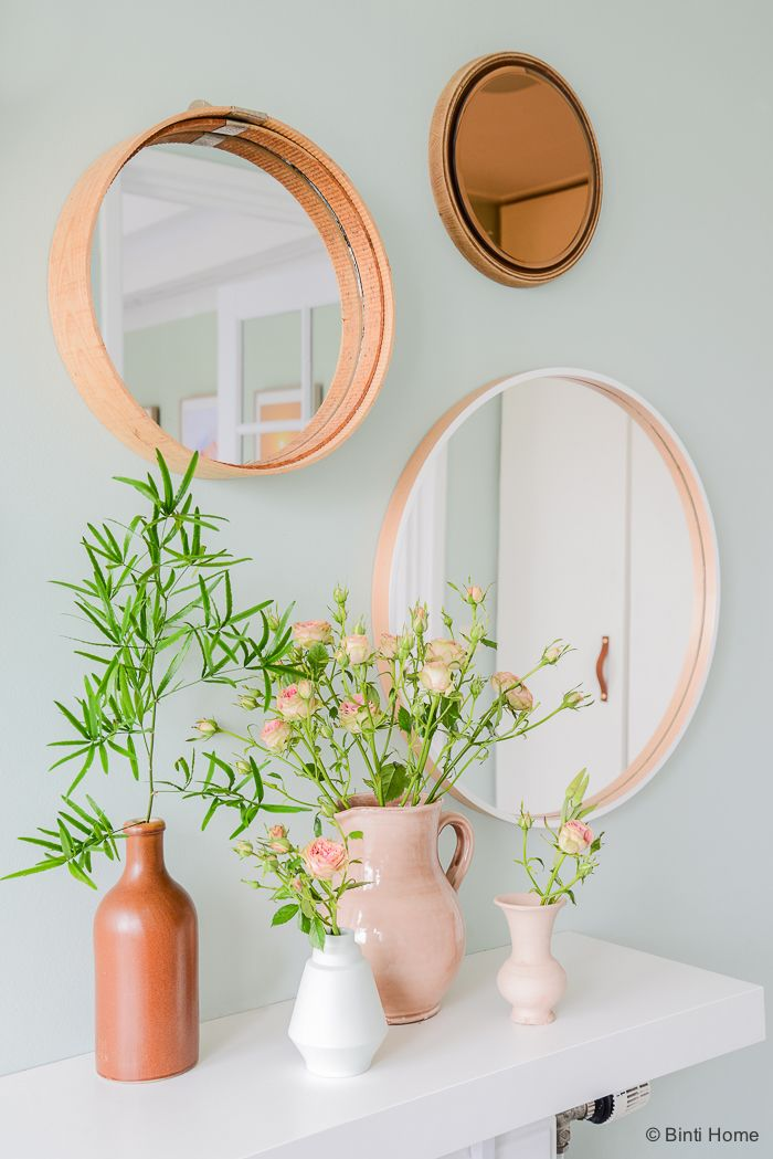 flowers and  mirrors - blush and white