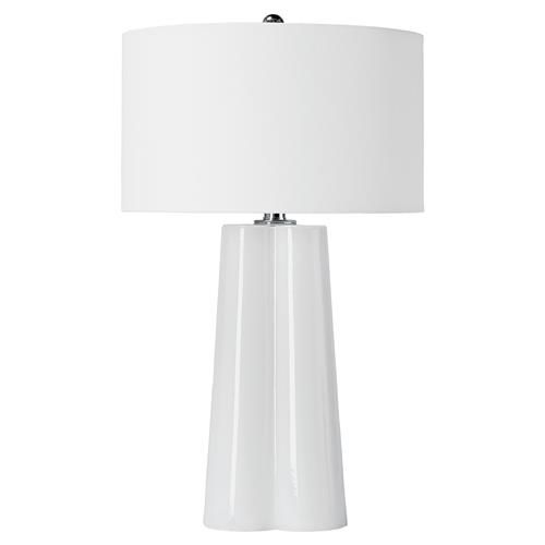 Pismo Modern Coast White Glass Fold Table Lamp | Kathy Kuo Home