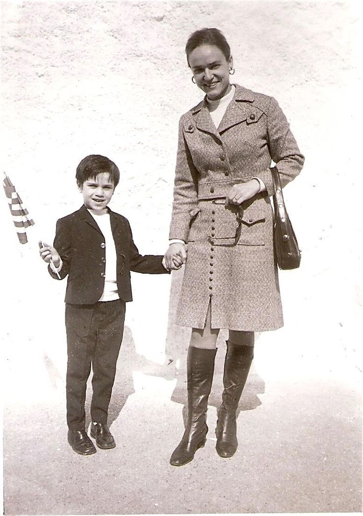 Mario Frangoulis with his mother Loula at 1st grade in Athens, Greece
