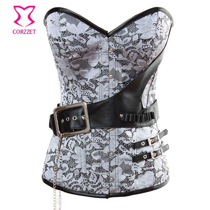 Silver Brocaded and Buckle Faux Belt Steel Boned Overbust Corset Steampunk Costume Women Corpetes E Espartilhos Gothic Clothes //Price: $US $27.09 & Up To 18% Cashback //     #gothic