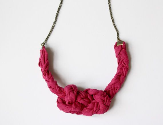 Fabric necklace Magenta Knot necklace by ganbayo on Etsy