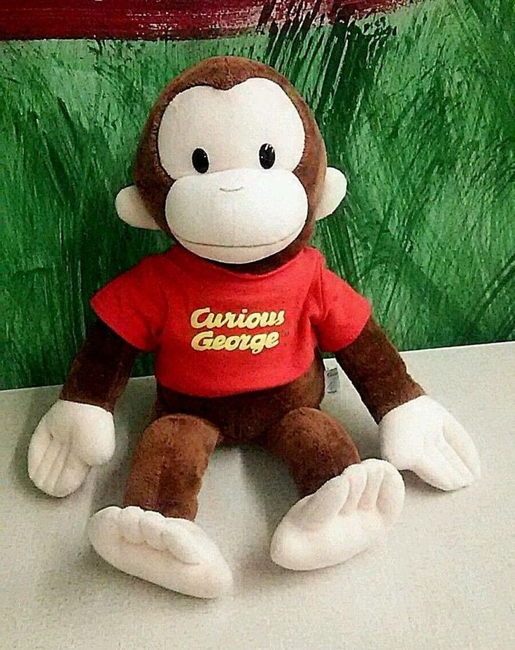 """Curious George Large Classic 16"""" Plush Red Shirt Applause Stuffed Animal #Applause"""