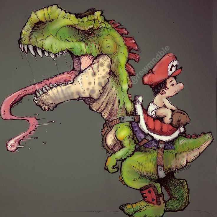 Yoshis island x Jurassic park yoshi as a pygmy t-rex with a chameleon tongue.