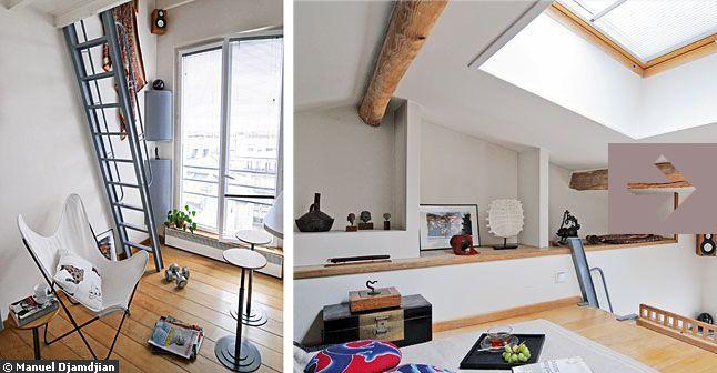 19 m2 mon petit duplex bourr d 39 astuces mezzanine and stair storage. Black Bedroom Furniture Sets. Home Design Ideas