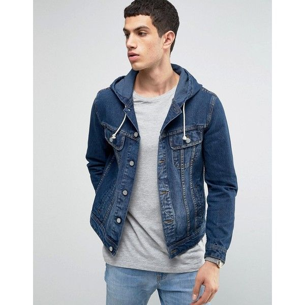 ASOS Hooded Denim Jacket in Mid Wash ($60) ❤ liked on Polyvore featuring men's fashion, men's clothing, men's outerwear, men's jackets, blue, mens hooded jean jacket, asos mens jackets, mens blue jean jackets, mens hooded jackets and mens hooded denim jacket