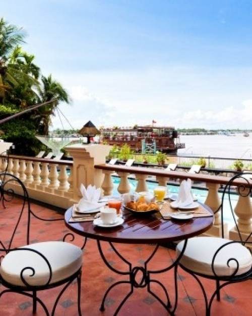 Victoria Chau Doc Hotel ( Chau Doc, Vietnam ) The best seats at Bassac, the hotel's on-site restaurant, are the riverfront cafe tables. #Jetsetter #JSBeachDining