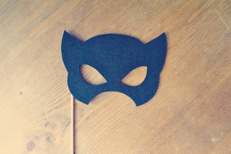 Felt Catwoman Super Hero Mask Prop // Photo Prop on a stick // Catwoman Mask // Super Hero Wedding // Photo Booth Props. $9.00, via Etsy.