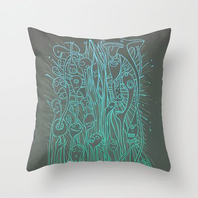 Ghost Head Tangle Lumo Throw Pillow by Lucy Corrina - $20.00