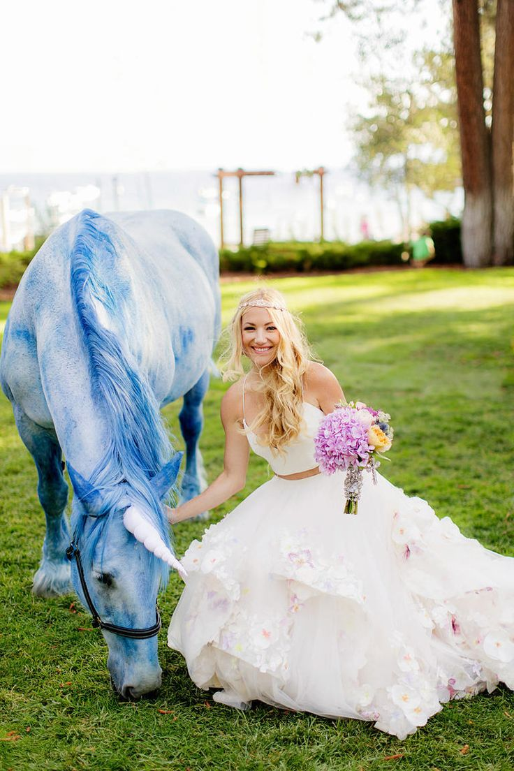 A fairytale wedding is not complete without a unicorn! // Bridal Designer Hayley Paige's Own Wedding