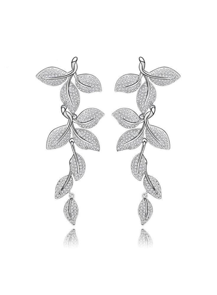 *Free shipping worldwide* Evoked by spring, these drop earrings highlight the beauty of nature by creating an illusion of real laurel leaves with micro-pavé cubic zirconia. | bridal earrings | wedding earrings | bridesmaid earrings | prom earrings | silver earrings | cubic zirconia earrings | bridal jewelry | wedding jewelry | prom jewelry | bridal jewellery | wedding jewellery | prom jewellery