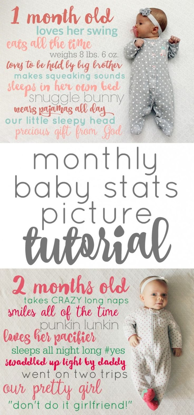 Monthly Baby Stats Picture Idea and Tutorial: Child at Heart Blog Baby Monthly Picture Idea that is FREE and makes a wonderful keepsake from your babies first year!  Also a great idea for birthdays and the 1st Day of School Pictures!