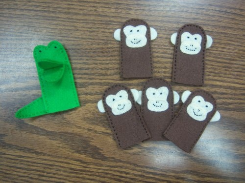 five little monkeys sitting in a tree.  This website has cute flannel puppet ideas for a ton of cute kid songs