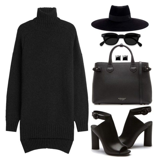 """""""Monochrome: All Black Everything"""" by deeyanago ❤ liked on Polyvore featuring Isabel Marant, Burberry, Maison Michel and Witchery"""