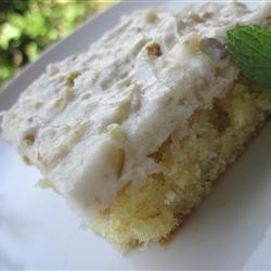 "White Texas Sheet Cake Allrecipes.com  --for 9 X 13 pan, add 2 tsp. baking powder and bake at 350 for 30"""